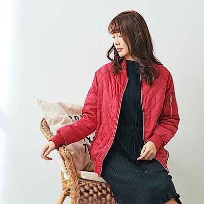 Jilli~ko 菱格紋飛行外套-紅色