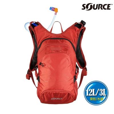 SOURCE 戶外健行水袋背包 Fuse 12L 2054129112|背包12L/水袋3L|橘紅色