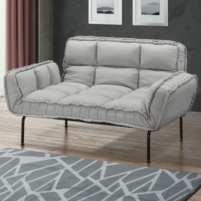 文創集 道爾 時尚淺灰棉麻布機能沙發/沙發床(展開式沙發/沙發床二用設計)-172x85x40cm免組