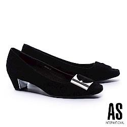 低跟鞋 AS 內斂尊貴銀飾釦羊麂皮方頭低跟鞋-黑