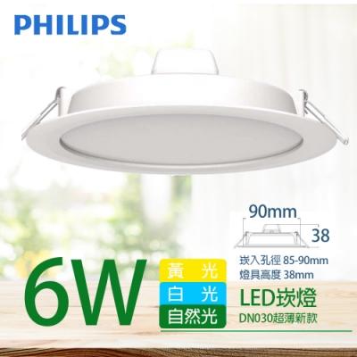 2入組【PHILIPS 飛利浦】LED薄型崁燈 6W 白光 6500K DN030B 9cm
