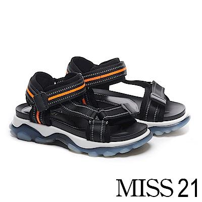 涼鞋 MISS 21 個性撞色休閒運動風厚底涼鞋-橘