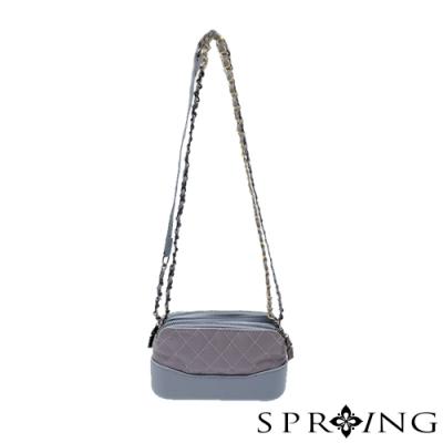 SPRING-閃亮菱格雙層側背包-神秘灰藍