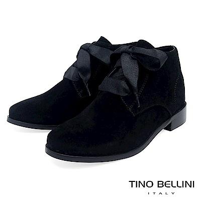 Tino Bellini 原色時尚拼接緞帶綁帶短靴 _ 黑