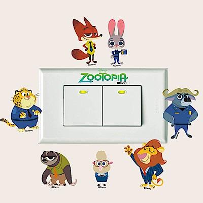 BPID002 迪士尼動物方城市迷你開關壁貼-Q版茱蒂尼克