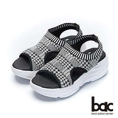 bac加州陽光-輕量化千鳥紋飛織布運動風厚底涼鞋-白
