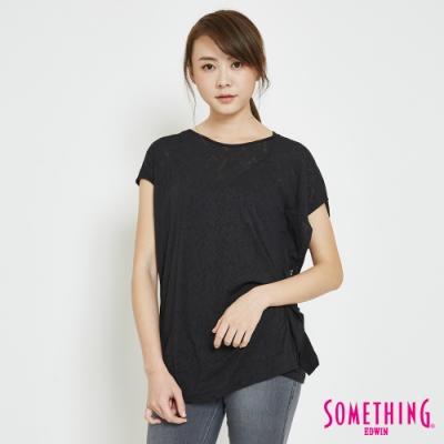 SOMETHING 鳶尾花不對襯 短袖T恤-女-黑色