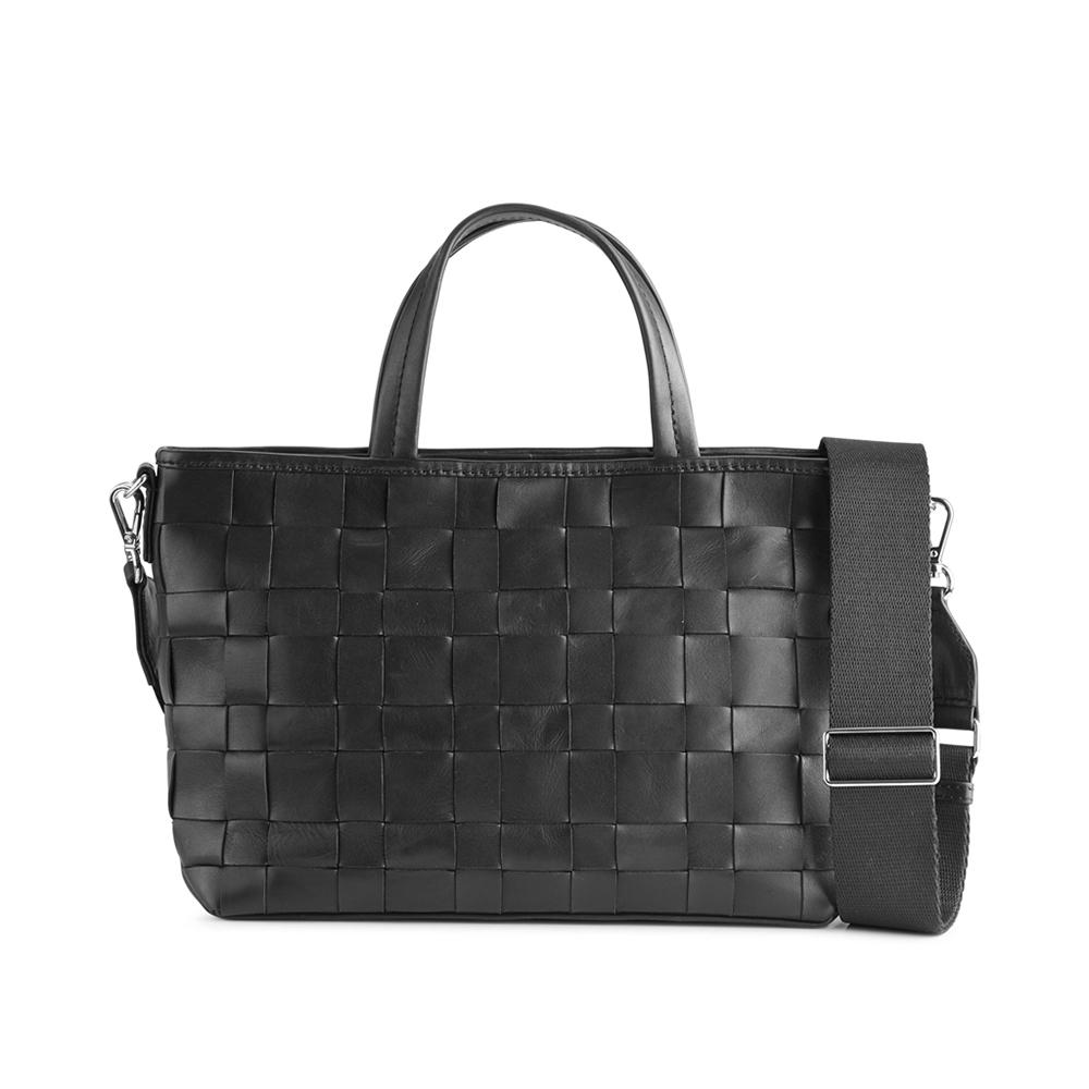 MARKBERG Vita 丹麥手工牛皮編織格紋維塔購物包 手提包 斜背包