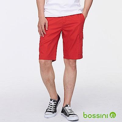 bossini男裝-素色側邊口袋休閒短褲暗紅