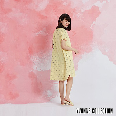 YVONNE 魚魚印花開襟短袖洋裝-嫩黃