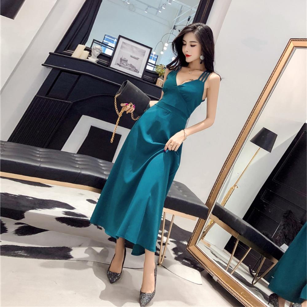 DABI 韓國風性感吊帶露背禮服長裙無袖洋裝