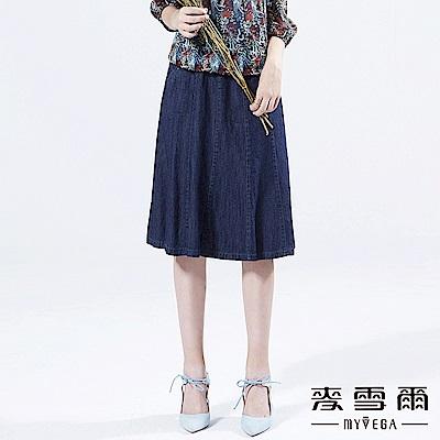 【麥雪爾】純棉日系丹寧八分A字裙
