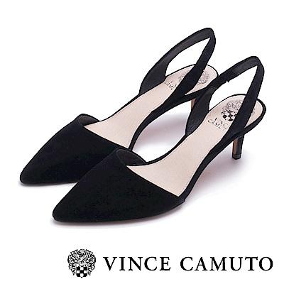 Vince Camuto 真皮素面典雅尖頭中跟鞋-黑色