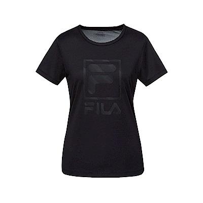 FILA 女抗UV吸濕排汗T恤-黑色 5TET-1318-BK