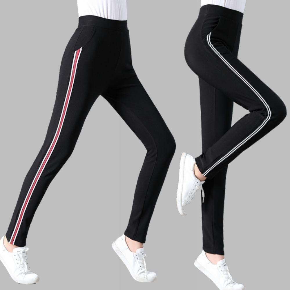 La Belleza側邊滾邊條紋鬆緊腰高腰側口袋彈性內搭褲(加大)