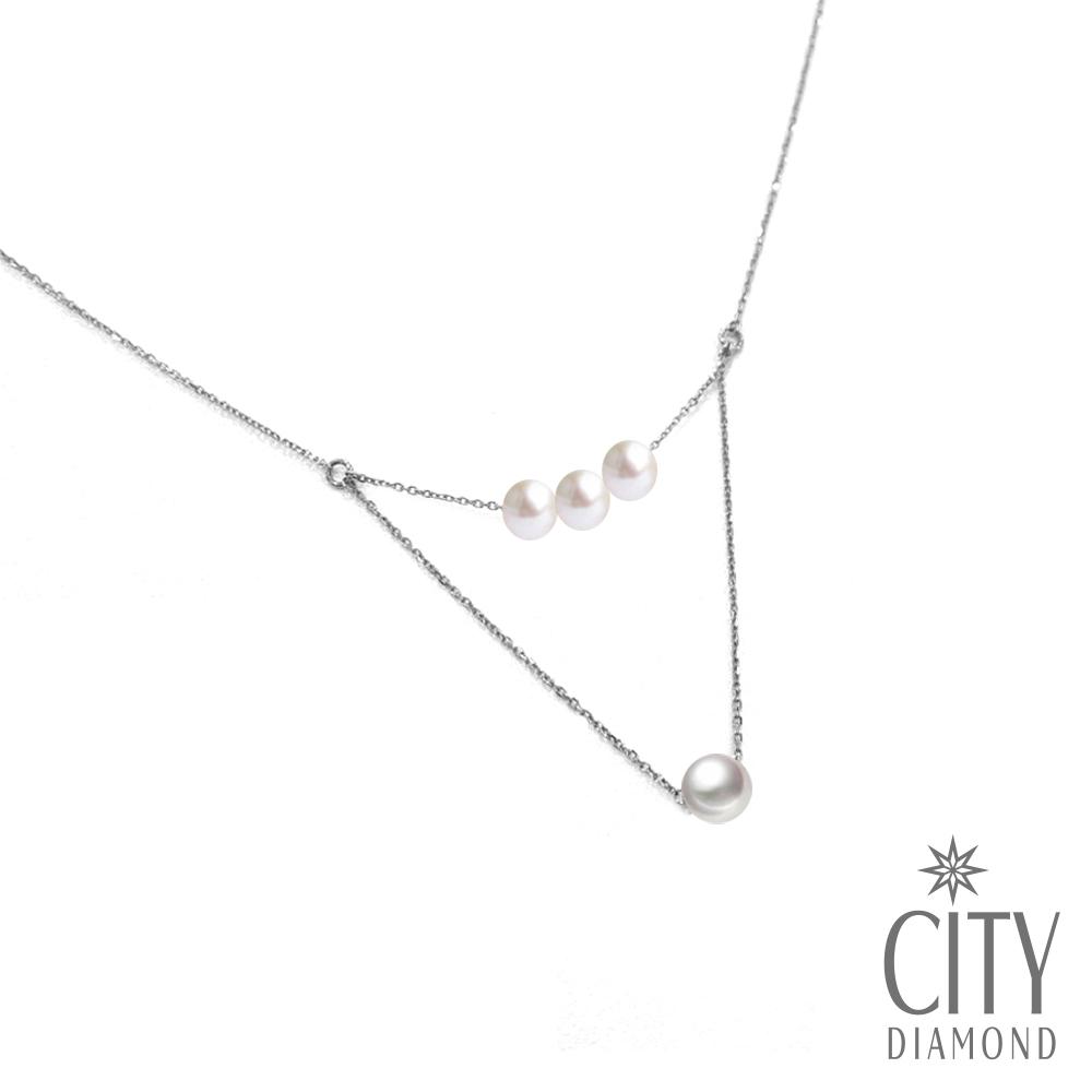 City Diamond引雅【手作設計系列 】天然珍珠.米粒珍珠雙層項鍊/鎖骨鍊/頸鍊