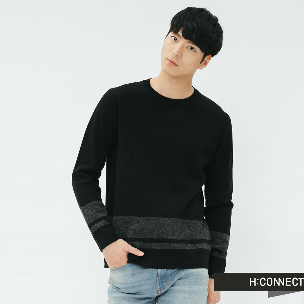 H:CONNECT 韓國品牌 男裝-下擺條紋設計針織衫-黑