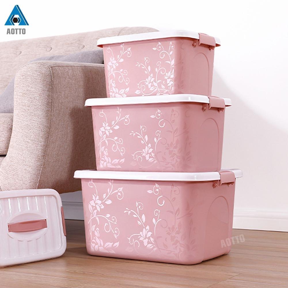 【AOTTO】簡約精美花紋收納箱 整理箱 3入組(可手提 三色可選)
