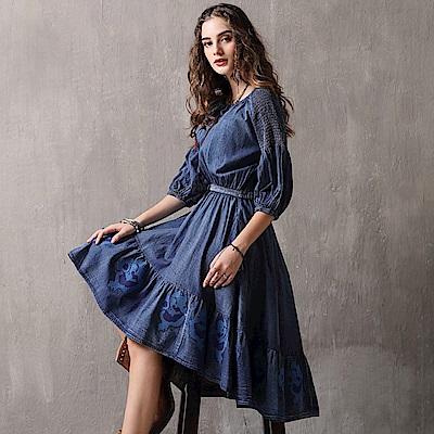 復古牛仔刺繡不規則裙襬連身裙S-L-維拉森林