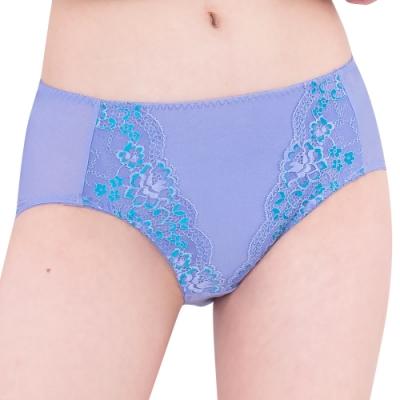 思薇爾 花蔓系列M-XXL蕾絲中腰三角內褲(蔓苑紫)