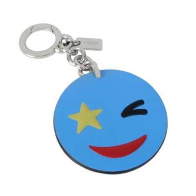 COACH藍色全皮EMOJI微笑星型眼圓形壓環鑰匙圈