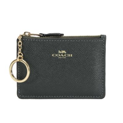COACH 防刮皮革拉鍊證件零錢鑰匙包(墨綠)