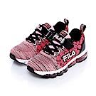 FILA KIDS大童氣墊編織慢跑鞋-黑粉 3-J808S-505