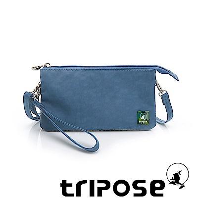 tripose 漫遊系列岩紋簡約微旅手拿/側肩包 淺藍