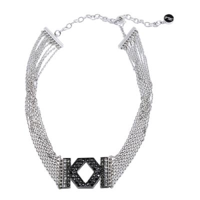 Karl Lagerfeld K FRINGE 雙k水晶造型銀色頸鍊項鍊
