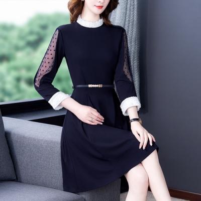 時尚網紗釘珠蕾絲領收腰顯瘦洋裝S-2XL-REKO