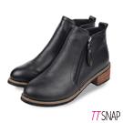 TTSNAP短靴-復古時尚雙拉鍊木紋中跟靴 黑