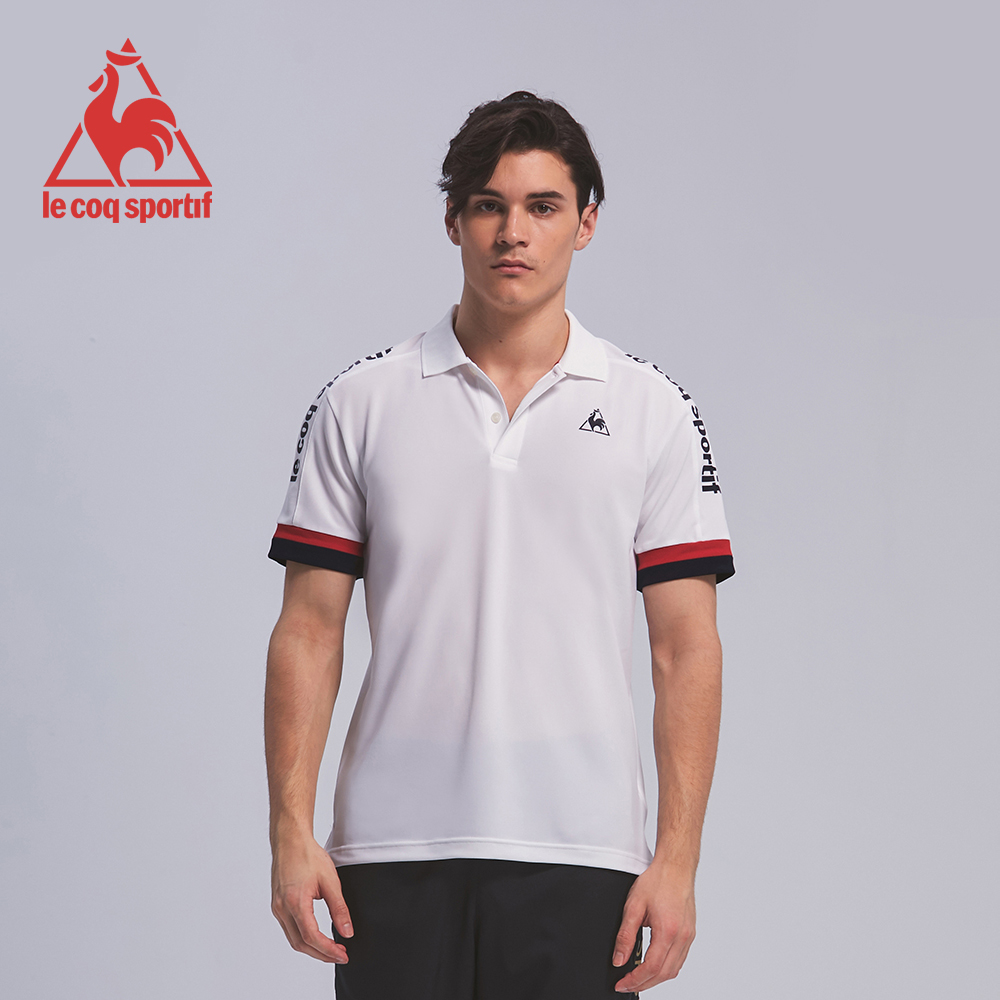 le coq sportif 法國公雞牌肩線拼接LOGO短袖POLO衫 男-白