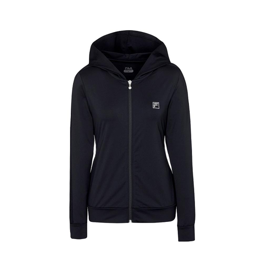 FILA 女吸濕排汗針織外套-黑色 5JKV-1608-BK