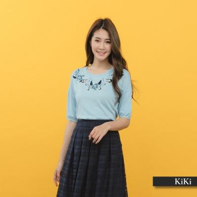 【KiKi】繡花花卉-針織衫(白色)