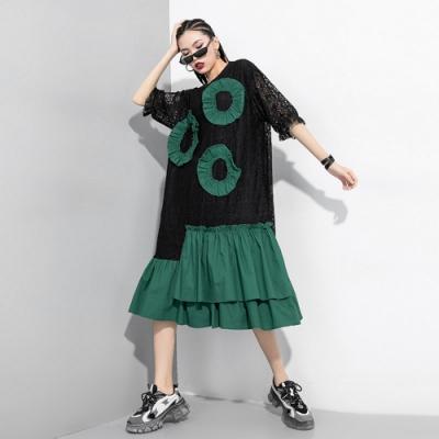 時尚綠圓點綴拼接荷葉邊裙擺蕾絲洋裝F-CLORI