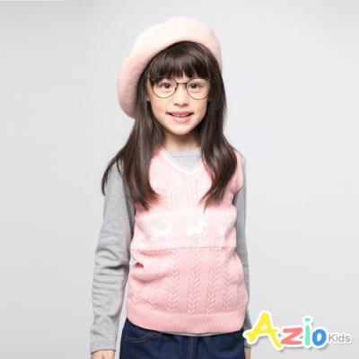 Azio Kids 女童 背心 麻花針織麋鹿圖騰背心 (粉)