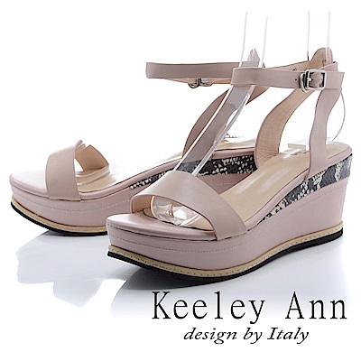 Keeley Ann 韓式風潮~拼接壓紋金屬飾釦全真皮厚底涼鞋(粉紅色-Ann)