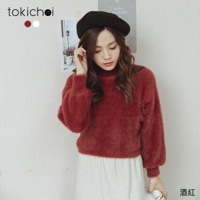 東京著衣 氣質柔軟毛毛親膚針織上衣(共二色)