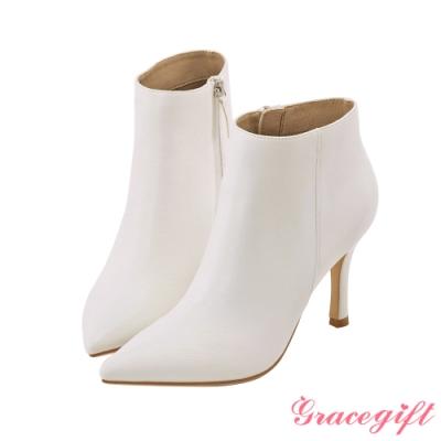 Grace gift X Kerina-聯名素色尖頭細跟靴 白