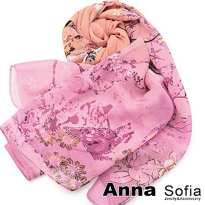 AnnaSofia 鳥語香榭 雪紡圍巾長絲巾(茵粉系)