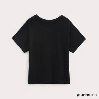 Hang Ten-女裝後腰鬆緊混紡休閒T恤-黑