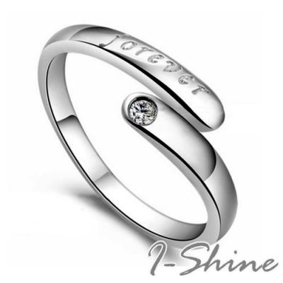 I-Shine-正白K-許願-字母浮雕晶鑽造型情侶可調開口戒指GA21