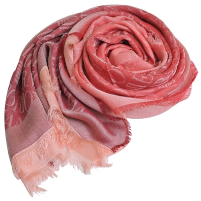 EMPORIO ARMANI 義大利製斜紋LOGO圖騰漸層薄造型圍巾(粉紅系)
