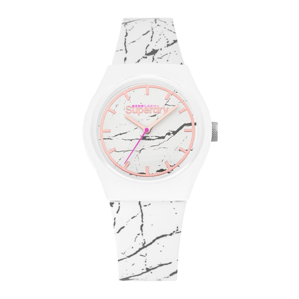Superdry極度乾燥 大理石紋時尚腕錶-白(SYL253WE)/38mm