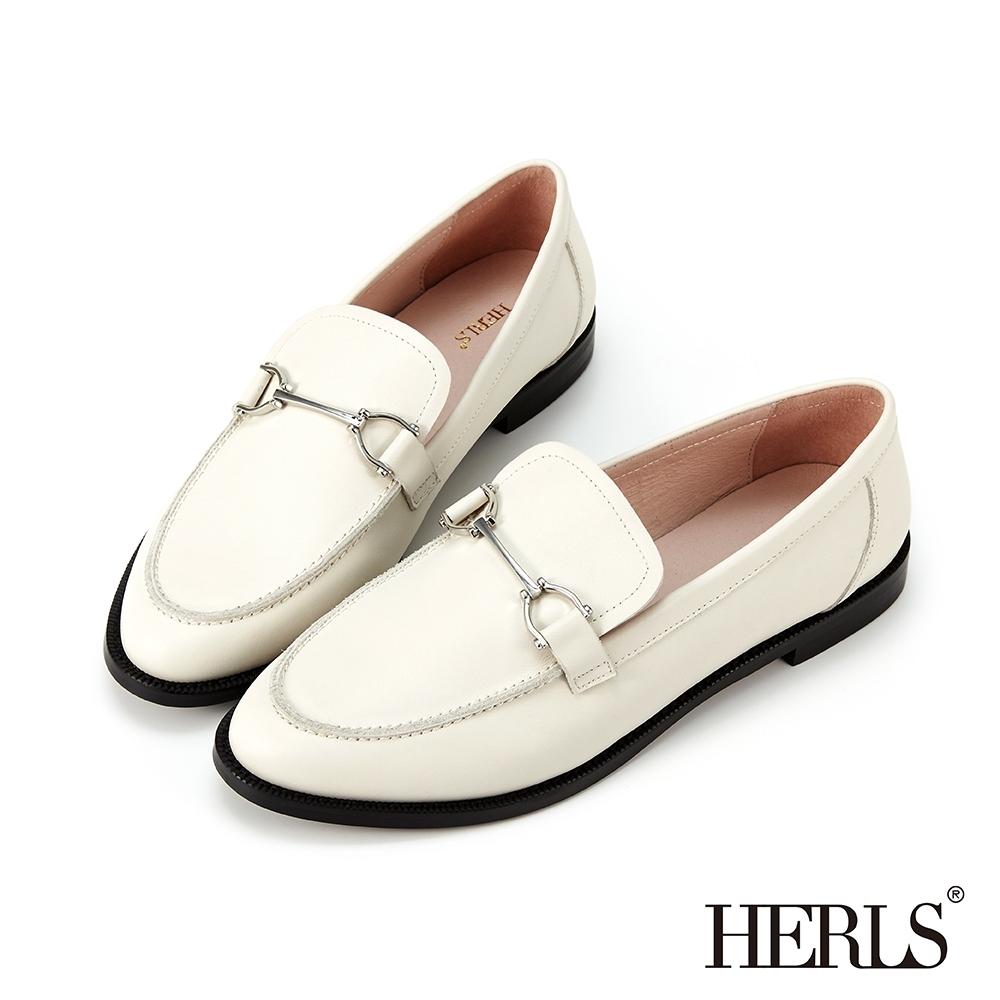 HERLS樂福鞋-全真皮馬銜釦橢圓頭低跟樂福鞋-白色
