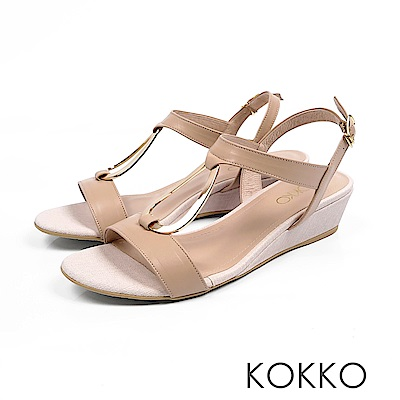 KOKKO - 時髦水滴金屬真皮後帶楔型跟鞋 - 貴妃裸