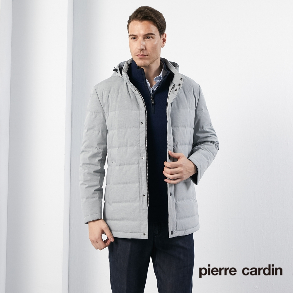 Pierre Cardin皮爾卡登 男裝 進口素材掛帽立領羽絨外套-淺灰色(5185703-92)