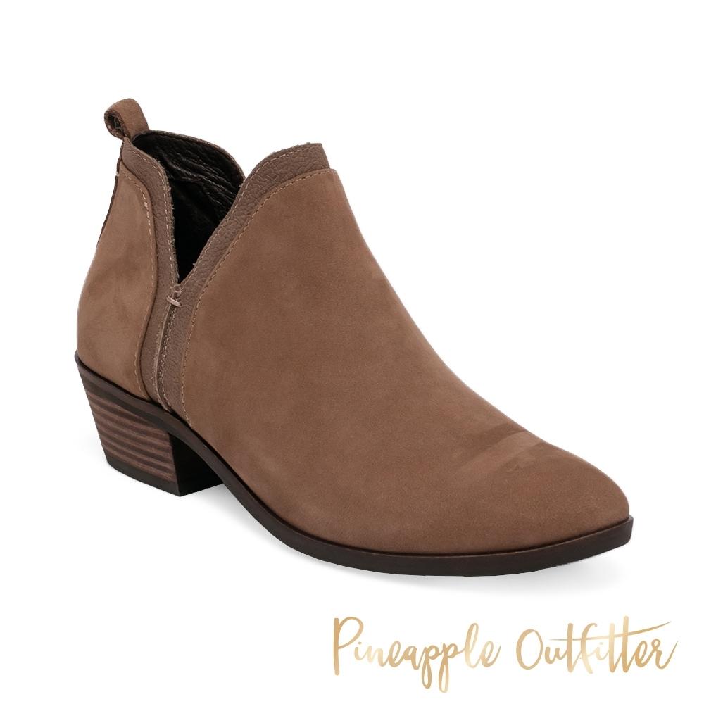 Pineapple Outfitter-BESSIE 率性真皮粗跟女短靴-棕色