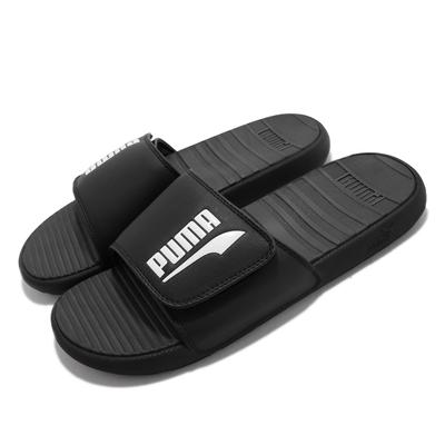 Puma 拖鞋 Cool Cat V FS 男鞋 柔軟舒適 彈性 魔鬼氈 包覆 黑 白 380788-01
