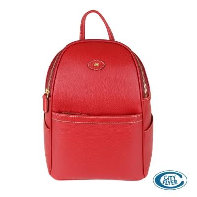 【CITY FLYER 城市旅者】義大利進口荔枝紋牛皮拉鏈雙肩後背包(紅色)